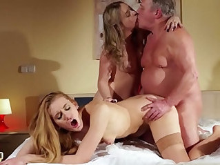 Old young threesome deepthroat cumshot for two lesbians fuck the same old man