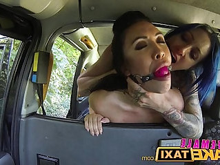 Female Fake Taxi Sexy lesbian with huge toys in british taxi
