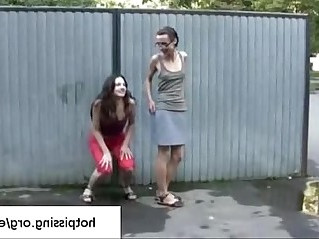 Two amateur girls from peeing in public