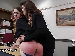 Brunette anal fisted in office