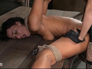 Contortionist gets face fucked in lezdom bondage