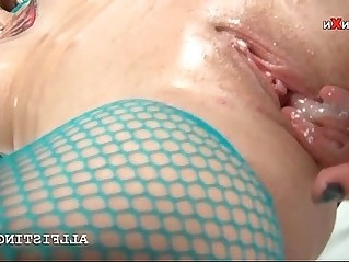 Lesbo redhead hooker enjoying brutal fisting and dildoing