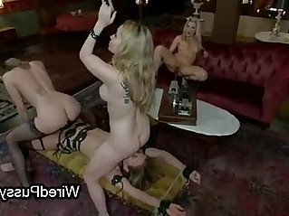 Wired maid in foursome femdom action hard flogged and fucked