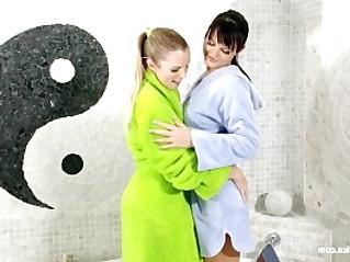 Bathtub Beauties by Sapphic Erotica Sally and Salma have lesbian fun