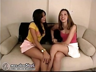 Two college teen lesbian fuck white cock dude in threesome
