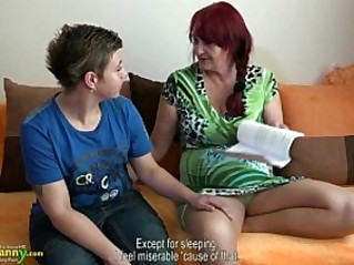 OldNanny Lesbian granny and teen with round huge dildo