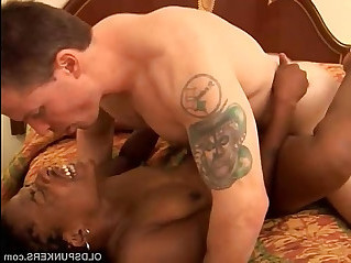 Sexy black MILF gets fucked by a lucky white guy
