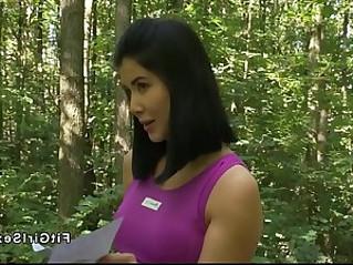 Lesbian yoga teacher fucks busty asian